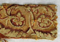 """Antique French Aubusson Tapestry Border Fragment  -This is a very beautiful antique French Aubusson tapestry border, circa mid 1760's. It measures 20"""" in length and, 5"""" in width, using silk and wool thread, it has an autumnal palette, with gold, brown, rust, crimson and beige. The design featu..."""