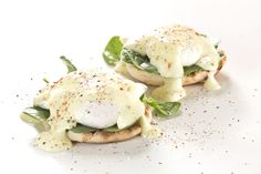 Hold the ham and make our delicious Eggs Benedict Florentine instead with beautiful, fresh spinach.  Get this and other recipes pairing eggs with yummy produce at holdtheham.com