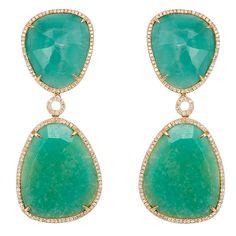 1stdibs   Amazonite Drop and Diamond Earrings