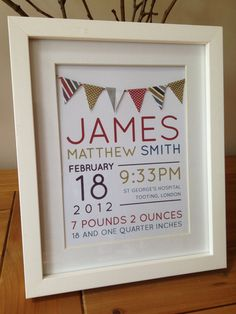 Personalised New Baby Boy Birth Information / Announcement / Christening Gift - Spots  Stripes