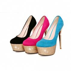 Graceful Ladies Sequins Waterproof Prom High Heel Shoes