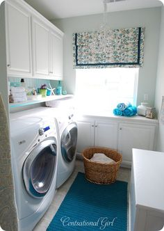 Even with a top loading washer you could do a small shelf below the cabinets, and lower the cabinets as well (they always seem to be too high for easy access)