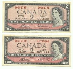 Old 1954 Canadian dollar bills. Canadian Coins, Canadian Dollar, Canadian History, O Canada, Money Notes, Money Bill, Old Money, Winning The Lottery, Coin Collecting