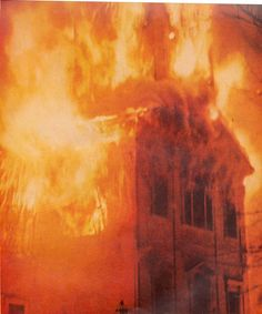 Historic Fire at First Unitarian Church of Northborough, Massachusetts 1945.