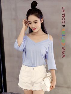 Sexy V Collar Easy Matching T Shirt