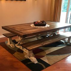 Square Farmhouse Table, Rustic Farmhouse Table, Dining Set with Stools, Table with Short Benches, Provincial Brown Top Gray White Wash Base Moving Furniture, Unique Furniture, Rustic Furniture, Wooden Kitchen Set, Wooden Dining Set, Woodworking Items That Sell, Woodworking Furniture, Barnwood Coffee Table, Farmhouse Table With Bench