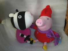 """Peppa Pig & Zoe Zebra - 2 Soft Toy Characgters - 12"""" Peppa Pig, Pillows, Toys, Character, Ebay, Activity Toys, Cushion, Throw Pillow, Cushions"""