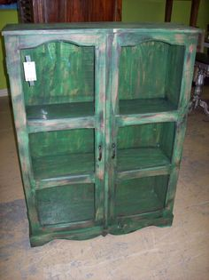 Distressed green cabinet (NP055) $397 38W 13D 52H