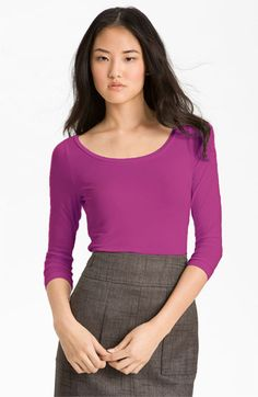 Great colors - 3/4 sleeves.  Halogen® Ballet Neck Stretch Modal Tee | Nordstrom