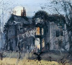 John Anster Fitzgerald - The Old Hall, Fairies by Moonlight; Spectres & Shades, Brownies and Banshees