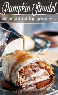 Phyllo dough pumpkin strudel is inspired by a traditional Bulgarian dessert - tikvenik. In this recipe we take it to next level by drizzling it with fragrant pumpkin ale syrup! Bulgarian Desserts, Bulgarian Food, Bulgarian Recipes, Beer Recipes, Fall Recipes, Healthy Recipes, Heritage Recipe, Pumpkin Beer, Cooking With Beer