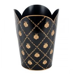 Hand Painted Toleware- French bee Black and Gold Tulip Wastebasket