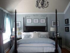 Grey, white, and aqua bedroom