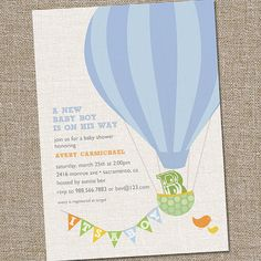 Hot Air Balloon Baby Shower Invitation by partymonkey on Etsy, $15.00