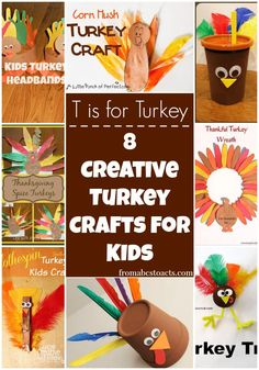8 Creative Turkey Crafts for Kids on Mom's Library - From ABCs to ACTs