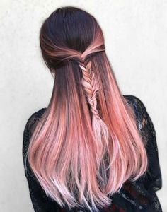20 rose gold hair color ideas + tips on how to dye - 20 rose gold hair color id. - Patricia Chan - 20 rose gold hair color ideas + tips on how to dye – 20 rose gold hair color ideas + tips on how - Gold Hair Colors, Ombre Hair Color, Cool Hair Color, Hair Color Pink, Pastel Pink Ombre Hair, Brown To Pink Ombre, Pink Hair Tips, Elumen Hair Color, Subtle Hair Color