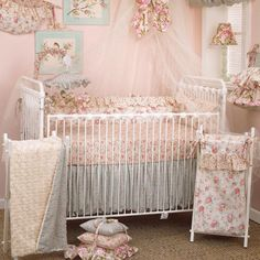 4-pc-Baby-Bedding-Set-100-cotton-Rose-Floral-Tea-Party-Cotton-Tail-Designs This is what my baby is going to have at Grandmas house.