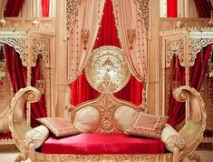 im so picky with indoor stages, but finally something that i kind of like red gold wedding stage Arab Wedding, Wedding Mandap, Desi Wedding, Pakistani Wedding Stage, Gold Wedding, Wedding Table, Designer Couch, Aladin, Wedding Stage Decorations
