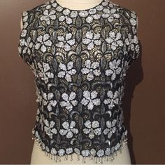 vintage art deco jet black beaded sheer illusion lace shift top 1940s 1950s flap  | eBay