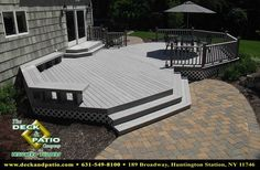 wood deck with stone patio - I want our deck to step down to either a paver patio or slate patio Wood Deck Designs, Landscaping Around Deck, Backyard Landscaping, Living Pool, Outdoor Living, Outdoor Deck Decorating, Stone Deck, Deck Makeover, Backyard Patio Designs