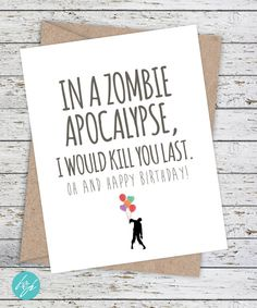 Boyfriend Card Funny Birthday Card Zombie Card by FlairandPaper