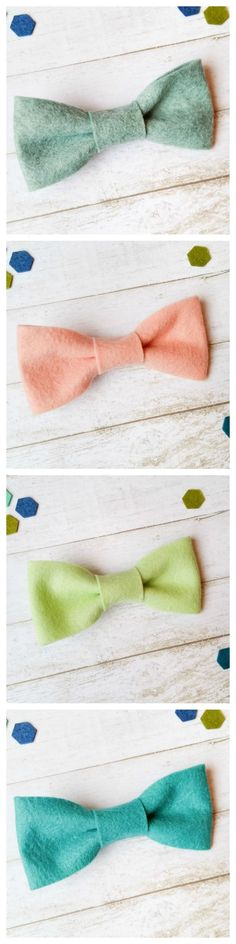 Adorable wool felt bow ties.  Clip on bow ties for little boys.