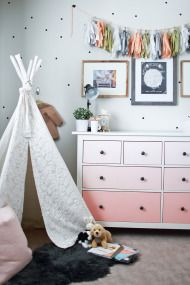 Oh My Dear Home Tour - Style Me Pretty Living - Gorgeous IKEA Hack: Pink/Peach Ombré Dresser