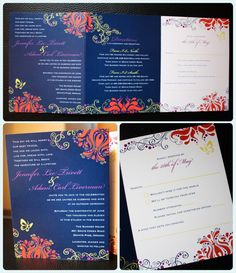red and purple butterfly wedding invitations