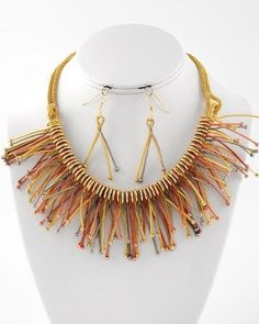 27.99$ only for this exclusive style, Truly Unique Gold Copper Silver Metal Fringe Collar Choker Uniklook Necklace Set