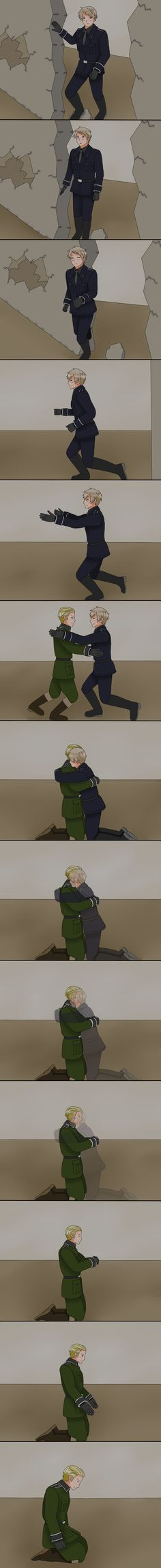 """This picture led to a VERY loud happy squeal, (take that weenies!), and a fun explaination of walls and giving back """"people power stuff"""". BTW try scrolling backwards. Hetalia - The Fall of the Berlin Wall by Talawolf2014.deviantart.com on @DeviantArt"""