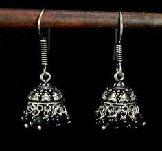 Jhumki Handmade Hook 925 Sterling Silver Plated Designer Earrings Jewelry KED136 #krsnajewels #DropDangle