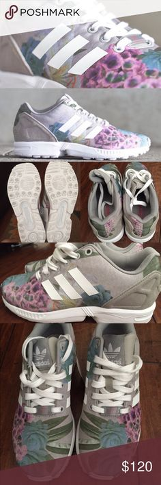 ❤️ SALE ❤️ Adidas ZX Flux Sneakers! The adidas ZX Flux just put on its best Easter outfit with this new edition for the ladies featuring a lovely floral upper. The soft pastel tones of the various flowers pictured are accompanied by a suede heel counter (usually plastic) for an extra premium touch. The stripes, laces, and sole units all come in bright white to keep these nice and light for a perfect springtime look. Size 6, but fits like a 7 to 7.5 womens. Adidas Shoes Sneakers