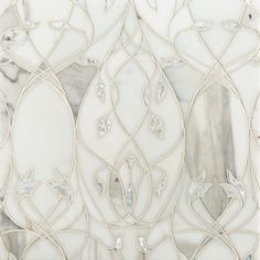 White rivershell embedded in Calacatta Gold marble - Elysium Garden by Artistic Tile