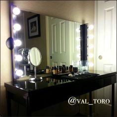 DIY vanity mirror with lights that my hubby put together for me.. In love!! #vanitymirror #vanitydesk #vanitymirrorandlights