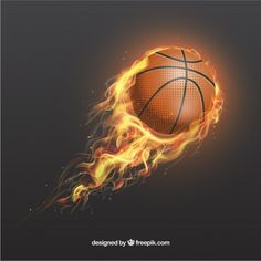 Realistic basketball on fire Free Vector