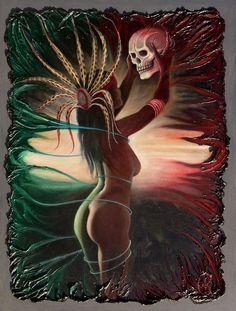 aztec-woman Chicano Tattoos, Chicano Art, Girl Tattoos, Memento Mori, Latino Art, Image New, Lowrider Art, Aztec Warrior, Aztec Art