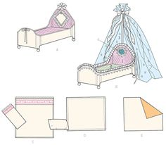 McCall's 7338 Embellished Beds and Linens for Dolls Doll Clothes Patterns, Clothing Patterns, Mccalls Sewing Patterns, Doll Furniture, Dollhouses, Line Drawing, Linens, Kid Stuff, Beds