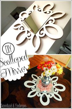 DIY Scalloped Scrolly Mirror... can be used as a centerpiece or a starburst-esque mirror! {Sawdust and Embryos}