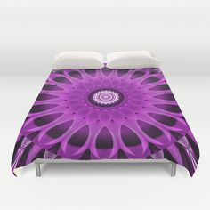 Mandala pink and purple Duvet Cover by Christine baessler - $99.00