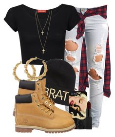 """BRAT."" by cheerstostyle ❤ liked on Polyvore featuring McQ by Alexander McQueen, Lee, Influence, Kendall & Kylie, Timberland and NARS Cosmetics"