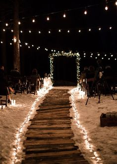 beach wedding, wedding lights This wintry NYE wedding will totally warm your hearts with how beautiful it turned out. Outdoor Night Wedding, Wedding Night, Dream Wedding, Night Beach Weddings, Wedding Beach, Romantic Weddings, Small Beach Weddings, Vintage Beach Weddings, Beach Wedding Locations