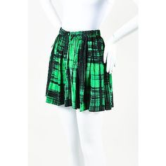 Pre-Owned Thakoon Green Black Silk Graphic Plaid Print Pleated Mini... ($65) ❤ liked on Polyvore featuring skirts, mini skirts, multi, plaid mini skirt, plaid pleated skirts, short mini skirts, green mini skirt and plaid skirt