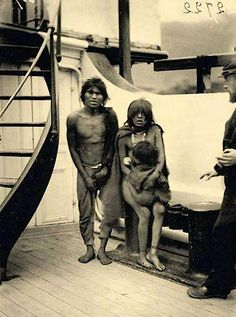 Selk'nam natives en route to Europe for being exhibited as animals in Human Zoos, 1899.  With the permission of the Chilean government in 1889, eleven Selk'nam natives (also known as the Ona), including an 8-year-old were taken to Europe to be exhibited in Human Zoos. These native people of the Patagonian region were a rarity. Between 1878 and 1900, three groups of natives belonging to indigenous groups of Tehuelche, Selk'nam and Kawésqar were shipped to Europe to be exposed in Human Zoos.
