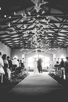 """Origami Bird Hanging Decor: Their beautiful wedding ceremony chapel venue was decorated with endless floating origami birds suspended from up above from """"rosyntjiebos"""" branches with grass lanes running down the aisle. Farm Wedding, Wedding Blog, Diy Wedding, Wedding Ceremony, Wedding Flowers, Wedding Venues, Dream Wedding, Wedding Ideas, Wedding Things"""