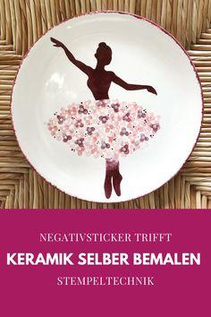 NegativSticker & Stempeltechnik Painted Ceramics, Ceramic Painting, Painted Pottery