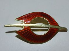 AKSEL HOLMSEN 925s STERLING SILVER RED ENAMEL NORWAY NORWEGIAN BROOCH PIN