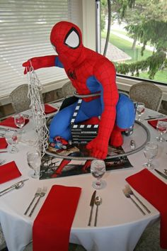 How AWESOME is this centerpiece?!  Custom created for a film themed Bar Mitzvah for one lucky boy!