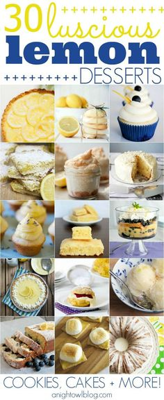 30 Luscious Lemon Desserts - cookies, cakes and more!