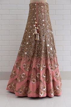 Isabella canyon clay drape sleeves with jaal embroidery blouse and lehenga Designer Bridal Lehenga, Bridal Lehenga Choli, Red Lehenga, Indian Wedding Outfits, Bridal Outfits, Bridal Dresses, Indian Designer Outfits, Designer Dresses, Mirror Work Lehenga