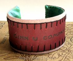 Recycled Jewelry - Ginn & Company Early 1900s Antique Book Cover Cuff Bracelet - raw silk and hand dyed cotton